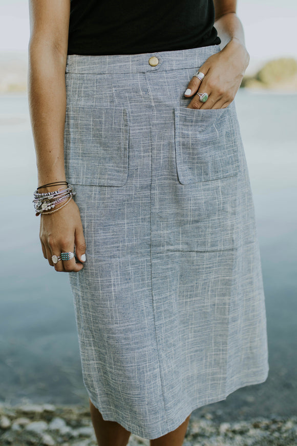 Smithfield Woven Skirt in Blue | ROOLEE