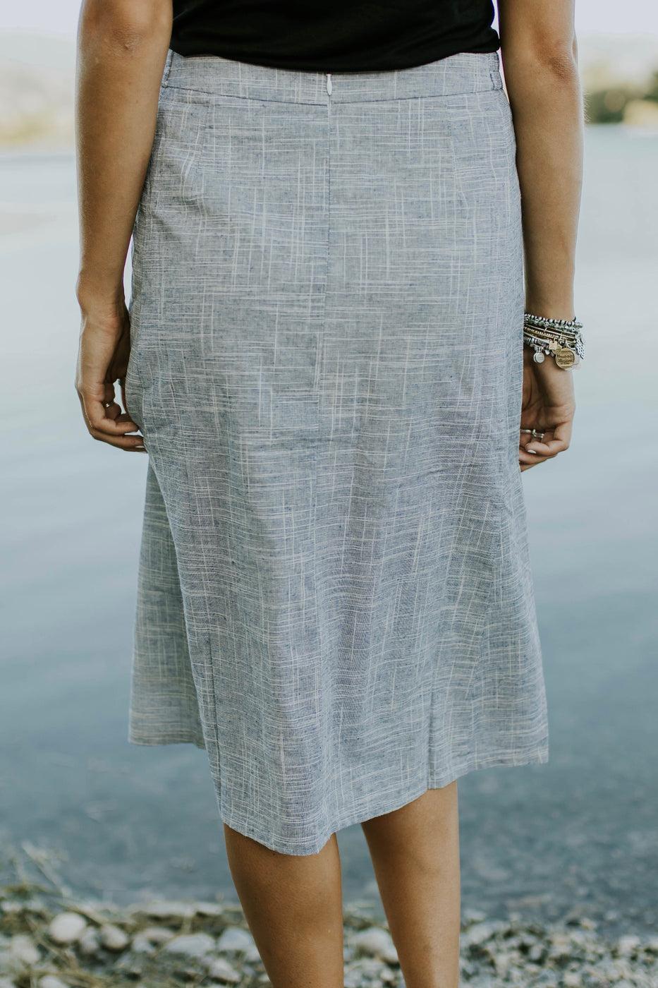 Blue Woven Cotton Skirt | ROOLEE