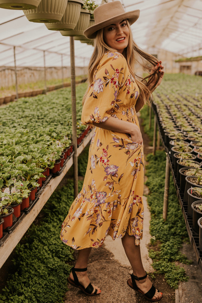 Women's Mustard Floral Dress | ROOLEE