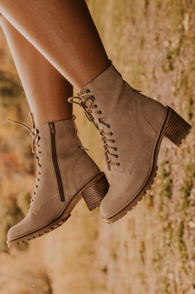 Lace Up Neutral Heeled Hiker Boot | ROOLEE