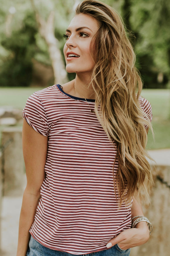 Free People Stripe Clare Tee in Red | ROOLEE