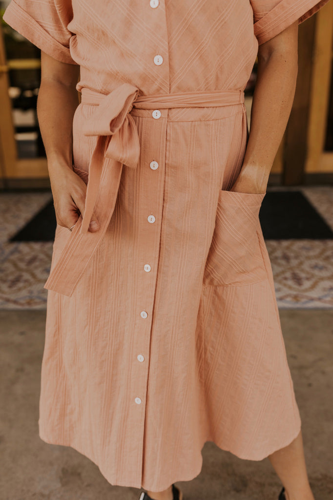 Peach Button Front Dress | ROOLEE