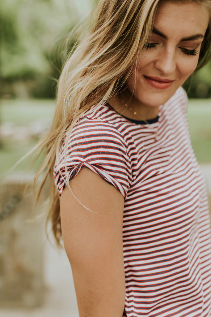 Red White Blue Stripe Tee | ROOLEE