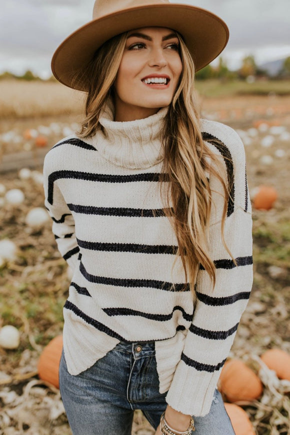 Stripe Turtleneck Sweater Outfit Ideas For Fall | ROOLEE Tops