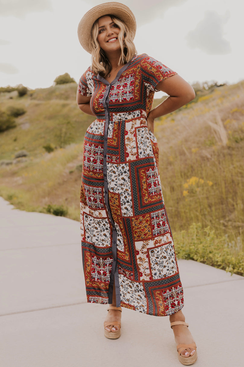 Red Patchwork Dress | ROOLEE
