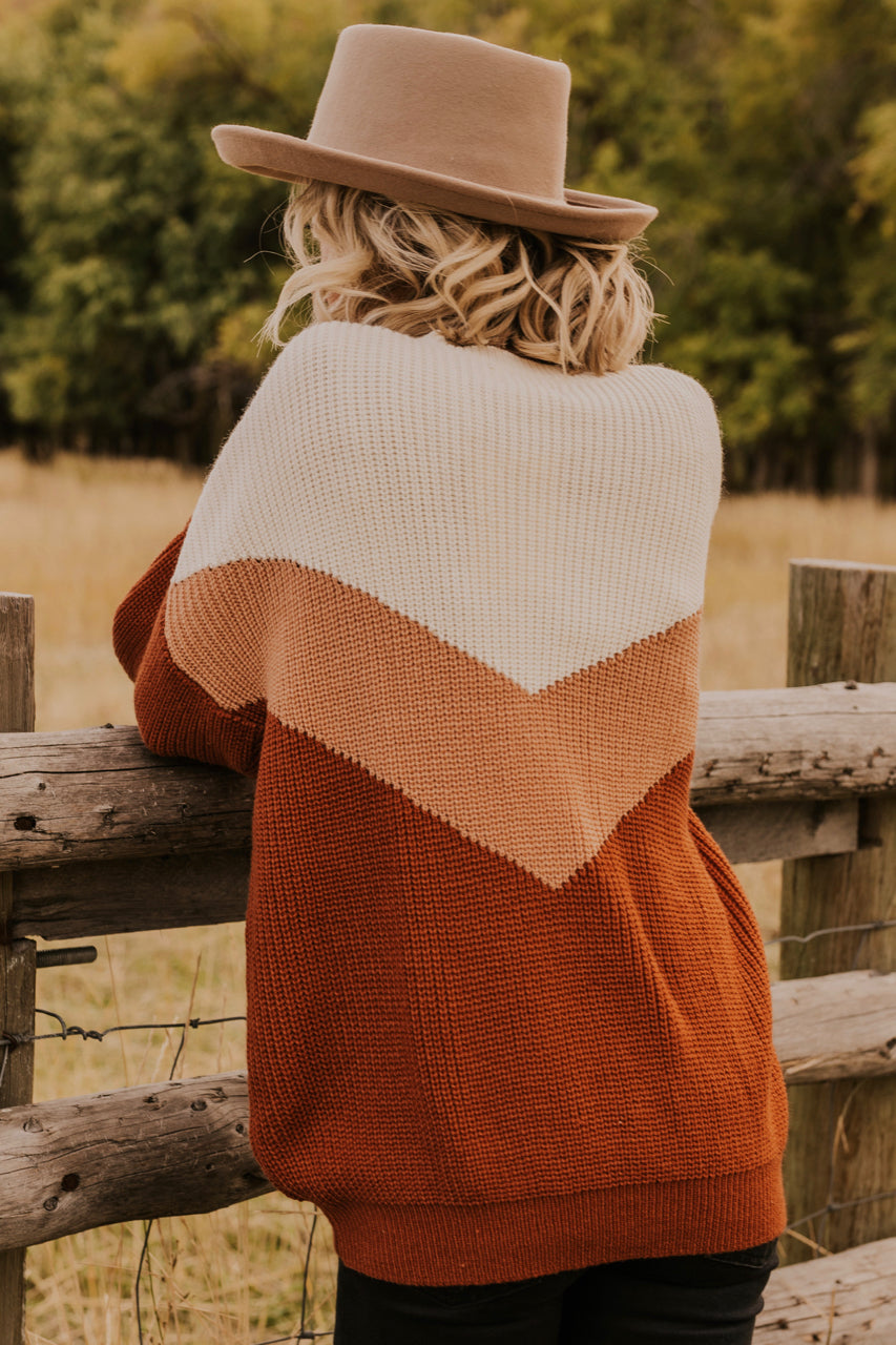 Oversized Print Orange Sweater | ROOLEE