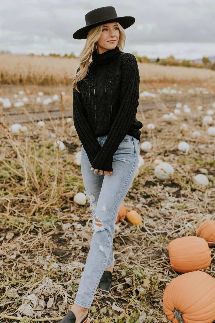 Black Cable Knit Sweater Outfit | ROOLEE