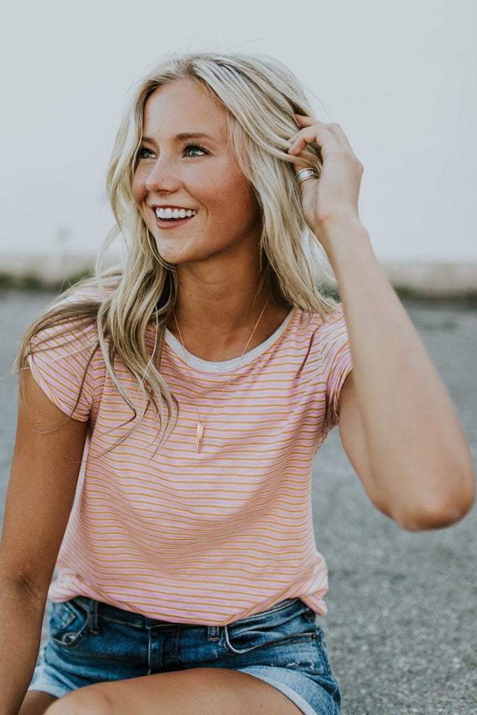Free People Stripe Clare Tee in Pink Combo | ROOLEE