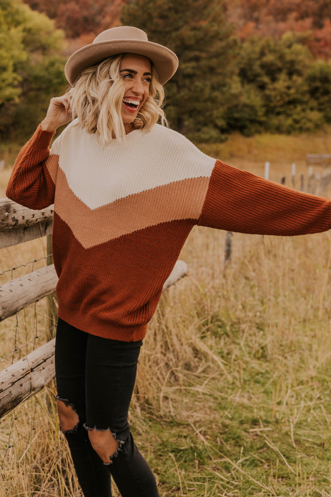 Camel Chevron Sweater | ROOLEE