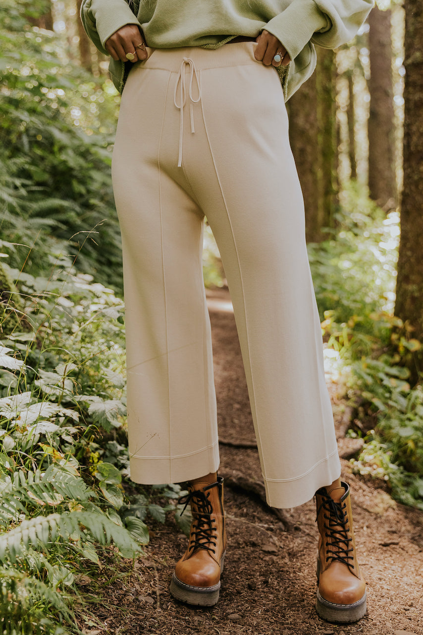Structured cream knit pants | ROOLEE