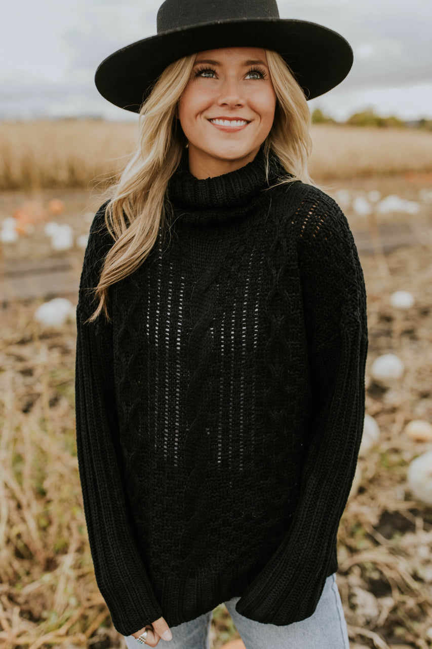 Aurora Cable Knit Sweater in Black | ROOLEE