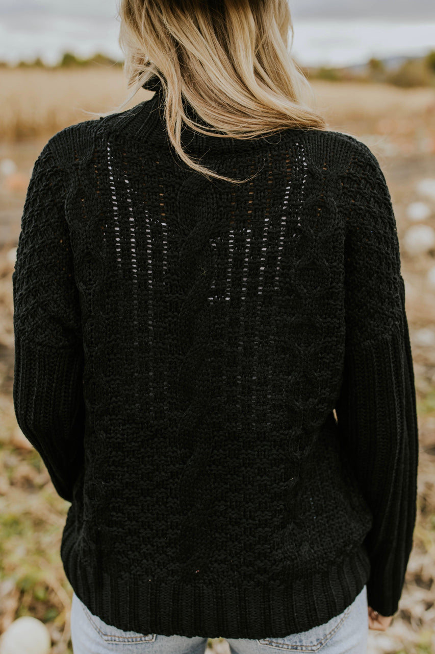 Black Cable Knit Sweater | ROOLEE