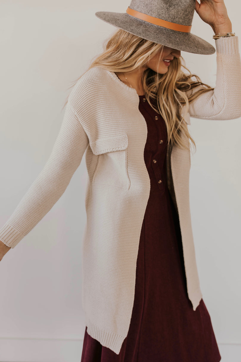 Cream Knit Cardigan | ROOLEE