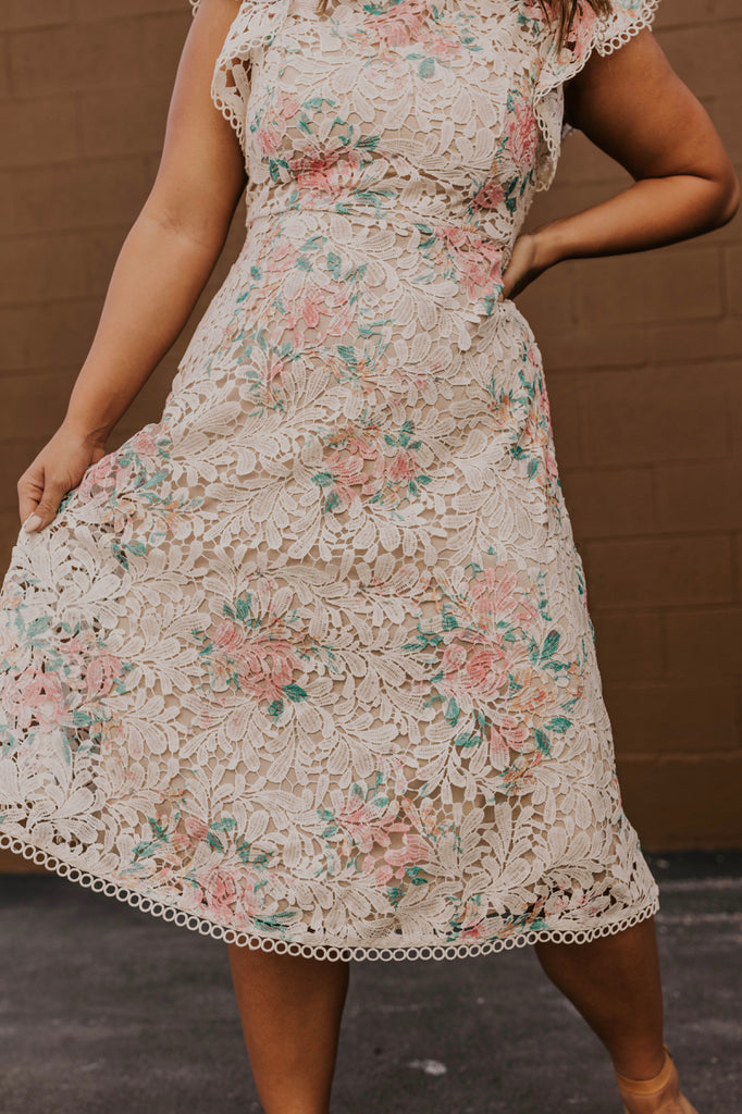 Floral Lace Midi Dress | ROOLEE