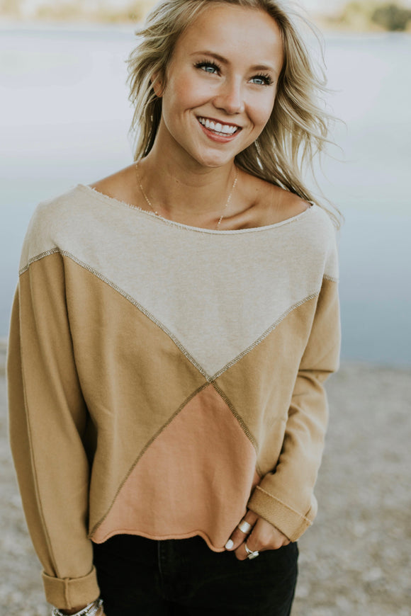Free People Montauk Pullover in Khaki Combo | ROOLEE