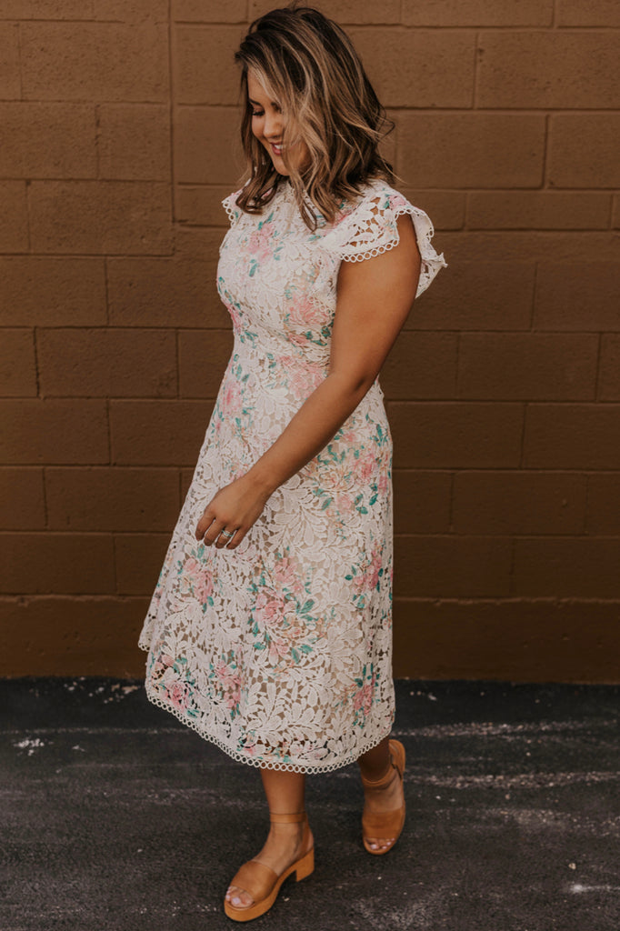 Flutter Sleeve Floral Lace Dress | ROOLEE