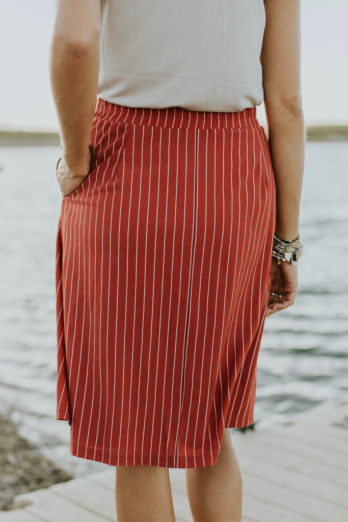 Red Stripe Skirt | ROOLEE