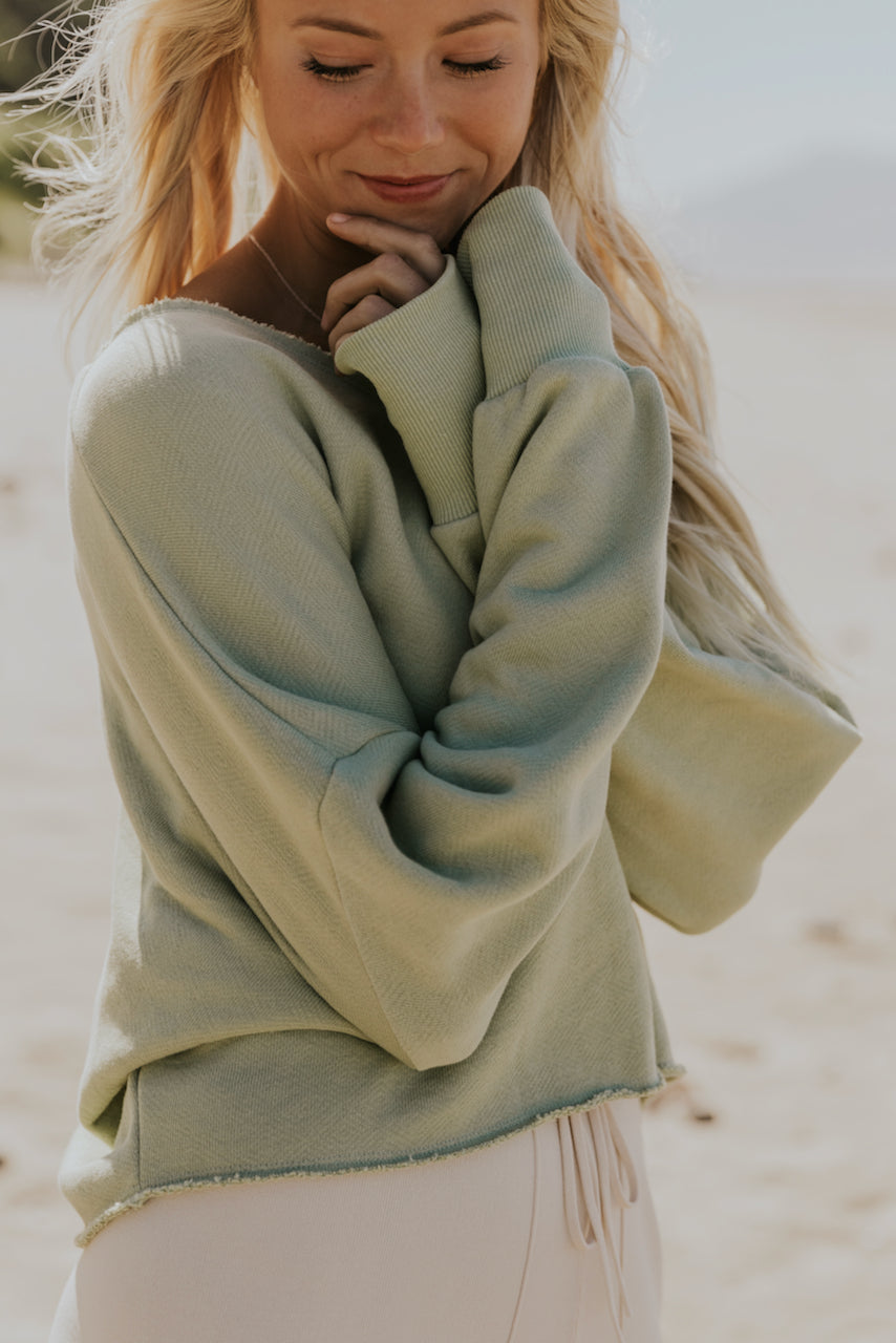 Long sleeve sage sweaters | ROOLEE