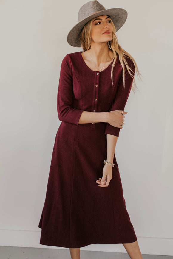 Heavy Knit Maroon Midi Dress | ROOLEE