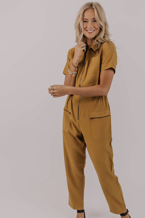 Unique Mustard Jumpsuit - Modest Clothing | ROOLEE