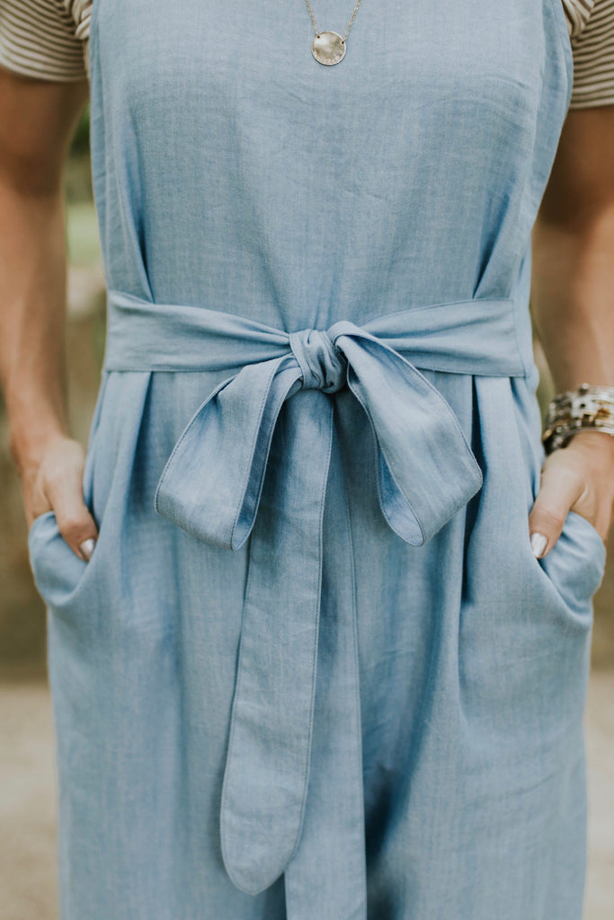 Tie Waist Light Blue Jumpsuit | ROOLEE