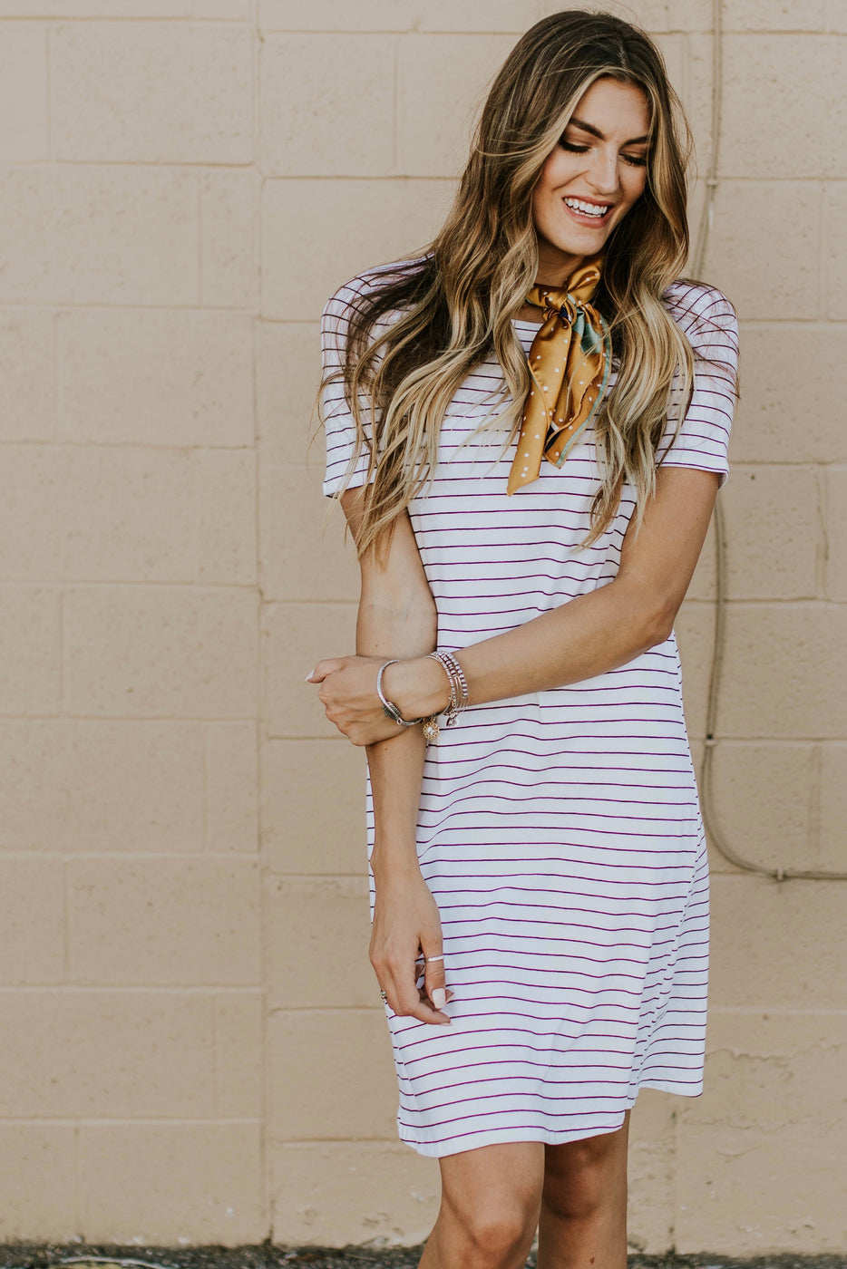Lyndee Stripe MOM Dress in White | ROOLEE