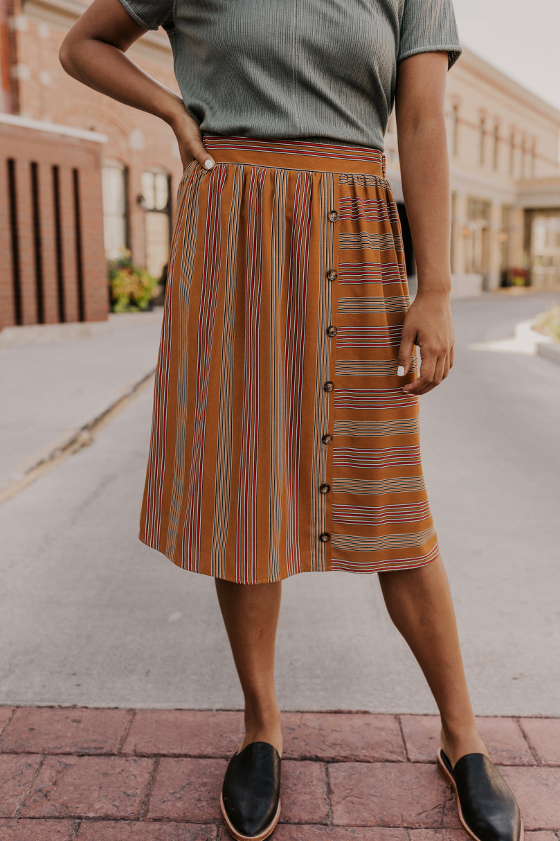 Multi Color Stripe Skirt | ROOLEE