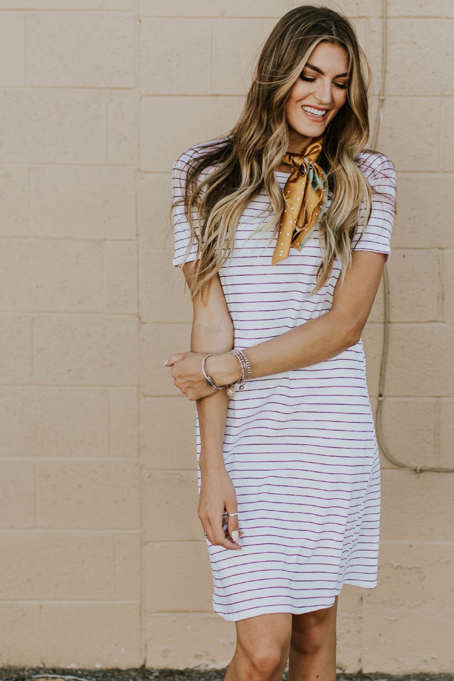 Lyndee Stripe Dress in White | ROOLEE