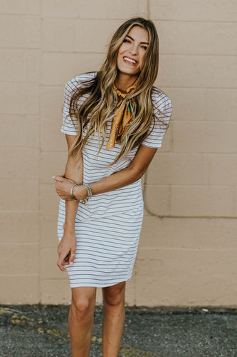 Short Sleeve Stripe Dress | ROOLEE