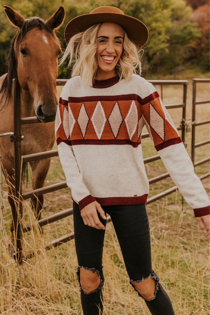 Cozy Cream Knit Geometric Pattern Sweater | ROOLEE