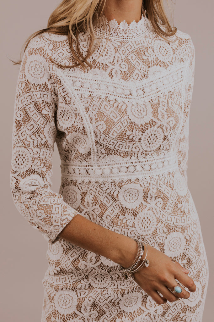 High Neck Lace Dress | ROOLEE