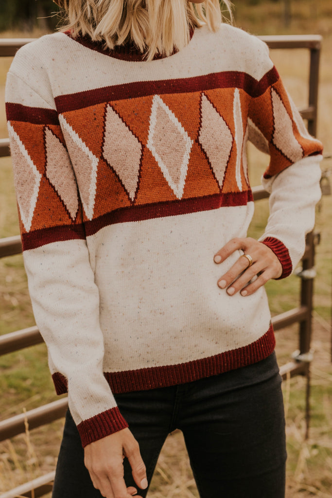 Rust and Burgundy Crew Neck Womens Geometric Patterned Sweater | ROOLEE