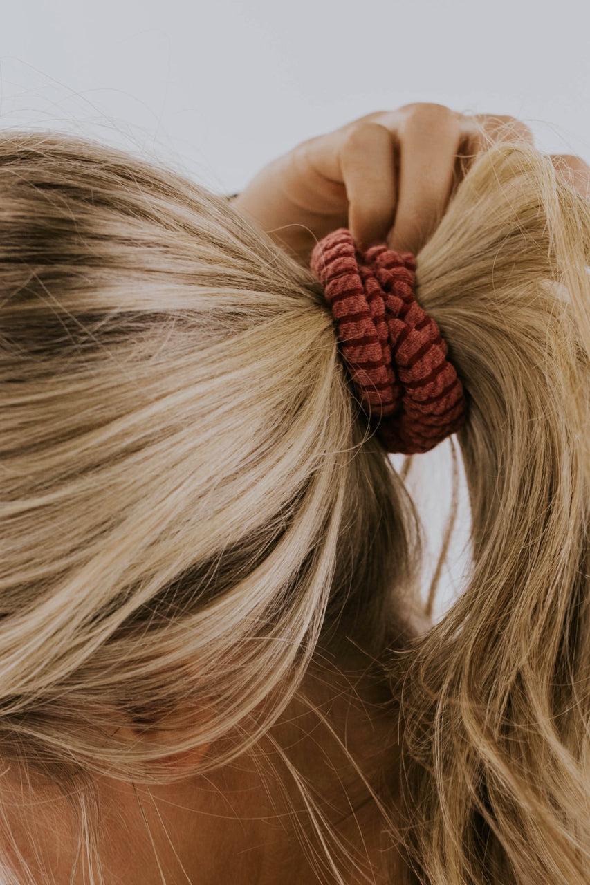 Knit Scrunchy in Red | ROOLEE Accessories