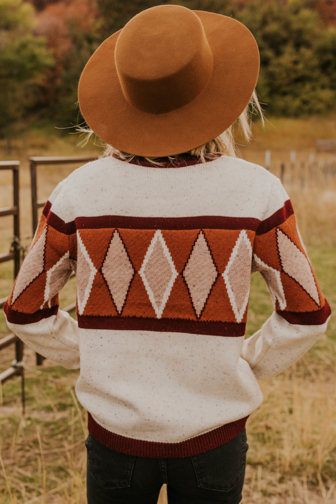 Fall Geometric Cream Sweater | ROOLEE