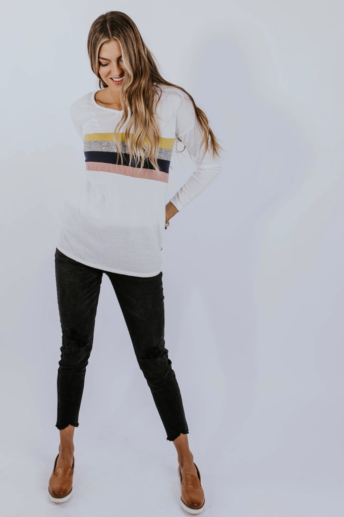 Stripe Sweater Outfit | ROOLEE