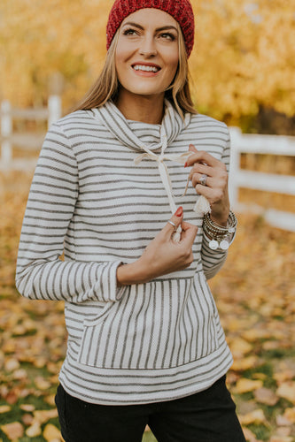 Stripe Knit Pullover Sweater For Women | ROOLEE Tops