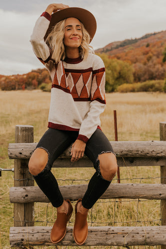 Burgundy Geometric Sweater for Winter | ROOLEE