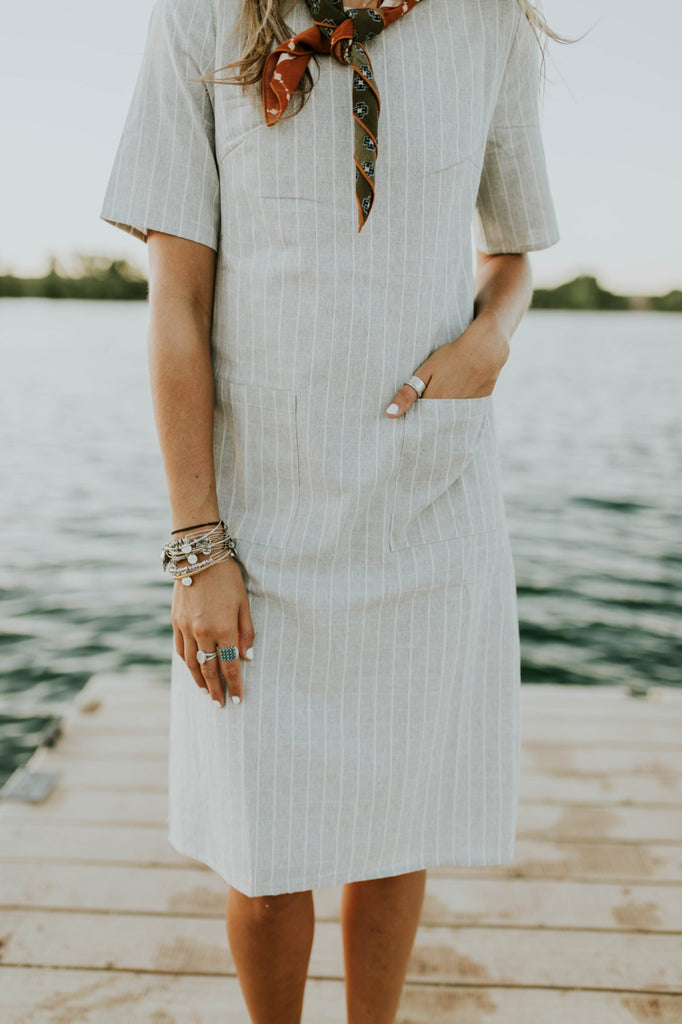 Grey + White Dress | ROOLEE