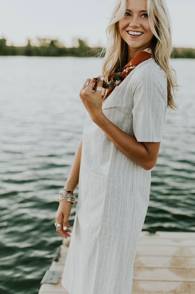 Grey Dress w/White Embroidery | ROOLEE