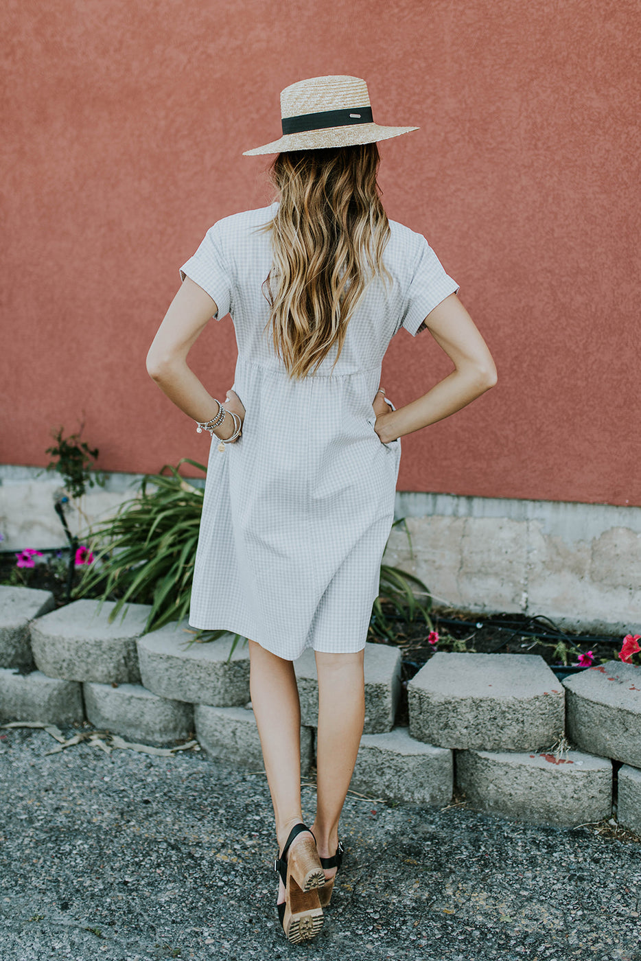 Grey + White Plaid Dress | ROOLEE