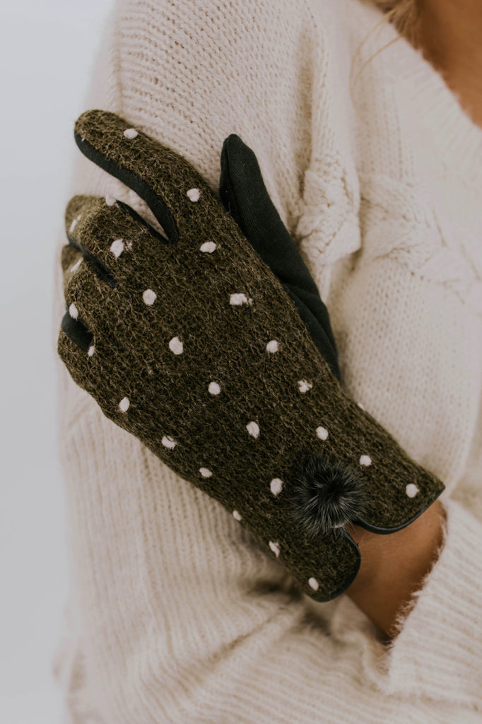 Lumi Knit Gloves in Olive | ROOLEE Accessories