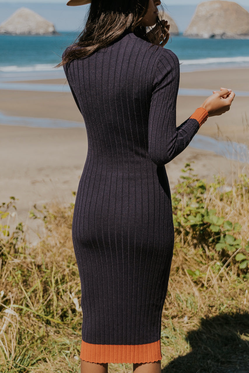 Navy Column Dress | ROOLEE