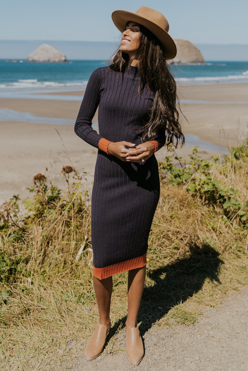 Long Sleeve Navy Dresses | ROOLEE