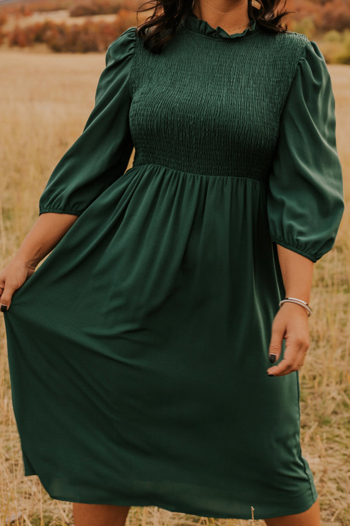 Quarter Sleeve Rouched Dress | ROOLEE