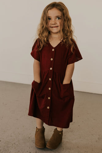 Burgundy Button Up Girls Dress | ROOLEE