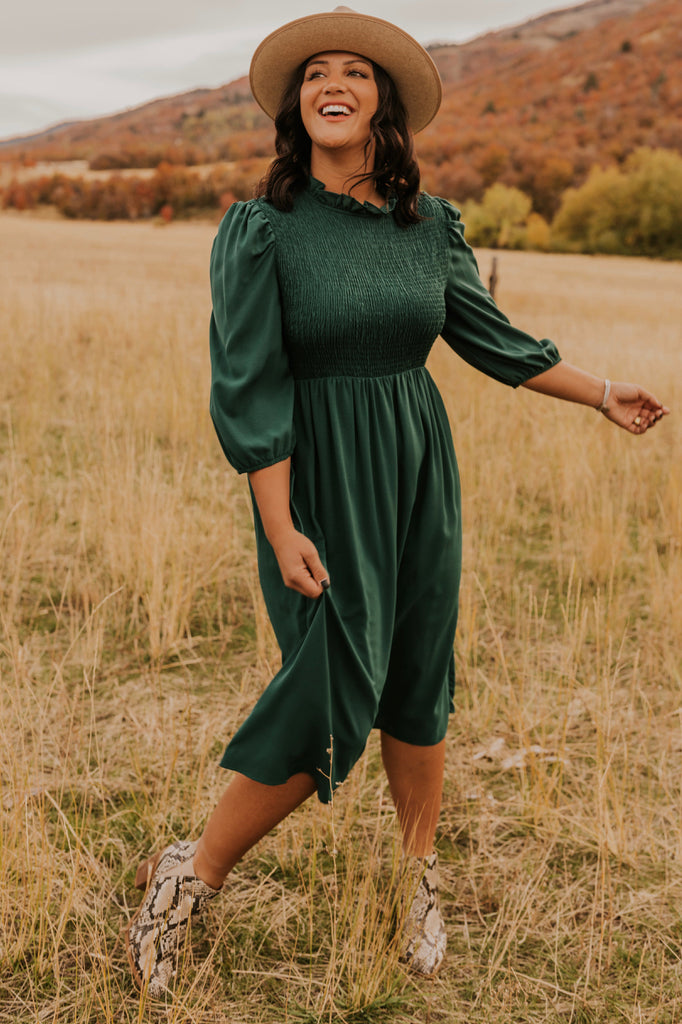 Green High Neck Dress | ROOLEE