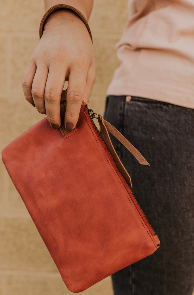 Red Leather Clutch | ROOLEE