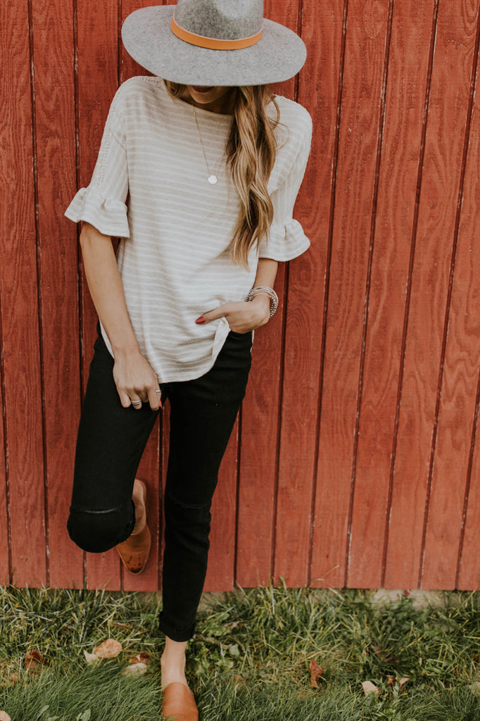 Faded Stripe Knit Top Outfit | ROOLEE