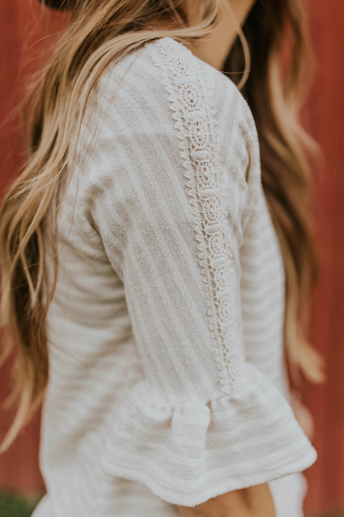Ruffle Sleeve Knit Top | ROOLEE