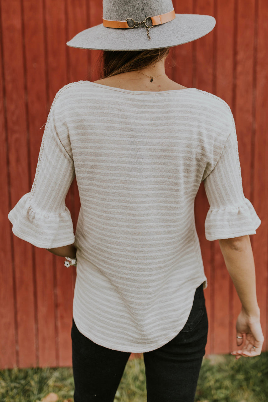 Ruffle Sleeve Stripe Top | ROOLEE